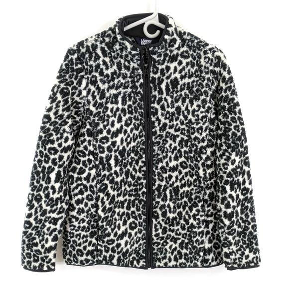 Lands' End Jackets & Blazers - Lands End Cozy Sherpa Fleece Jacket Ivory Leopard
